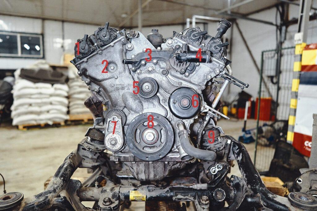 Элементы передней части двигателя