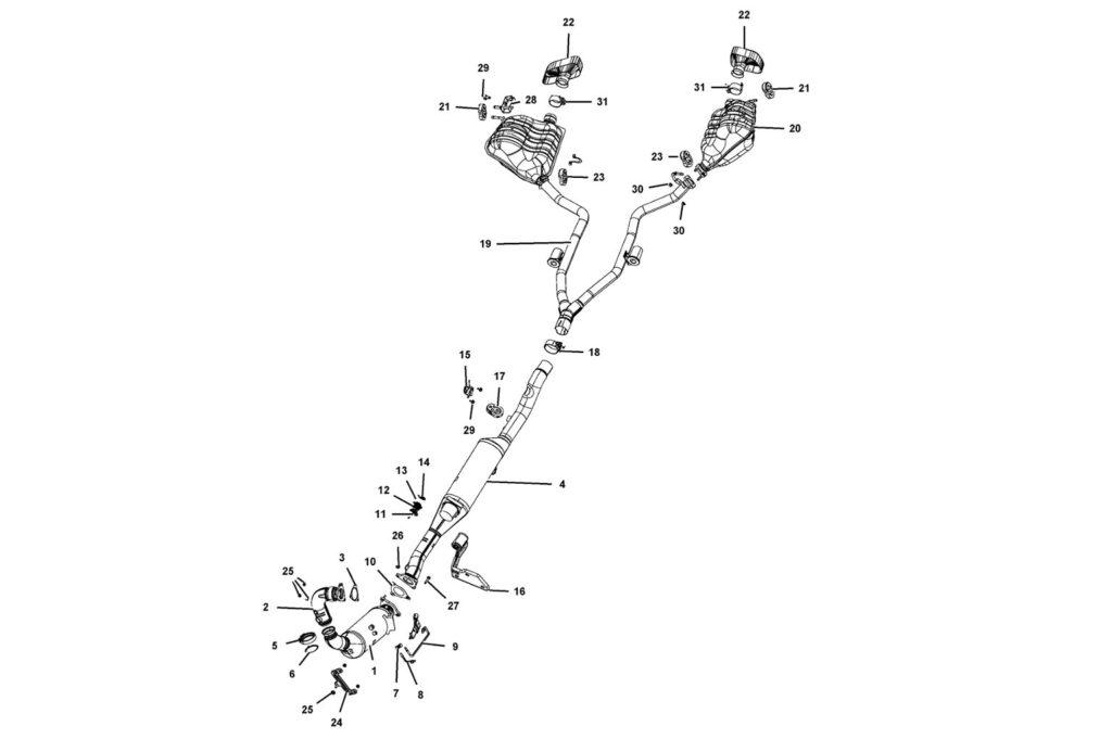 Выхлопная система Гранд Чероки с 2018 модельного